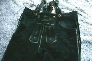 Angermaier Trachten - Lederhose mit Stickereien und Hosenträger,  schwarz Gr. 54