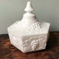 IMPERIAL GLASS Candy Dish WHITE MILK GLASS LIDDED HEXAGON PANELED GRAPE PATTERN