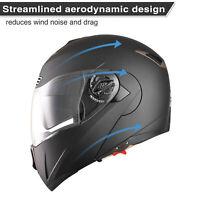 DOT Flip up Modular Full Face Motorcycle Helmet Dual Visor Race Motocross Matt M