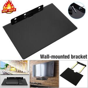 Wall Mount Shelf Floating Black Glass Bracket For Xbox PS4 Sky TV DVD Shelves UK