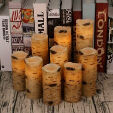 """Antizer Flameless Candles Battery Operated Candles Birch Bark Effect 4"""" 5"""" 6"""" 7"""""""