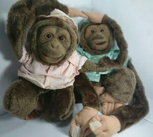 Vintage Puppet Monkeys Couple Lot Bundle Muppets Toys Plush Stuffed