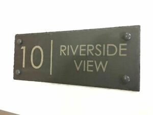 Modern Rustic Slate House Gate Sign Plaque Door Number Personalised Name Plate