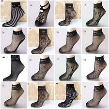 Ladies Black Lace Mesh Fishnet Short Ankle High Socks Hosiery