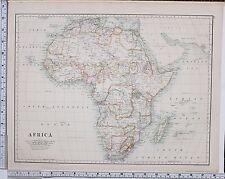 1889 LARGE ANTIQUE MAP ~ AFRICA CAPE COLONY MADAGASCAR ABYSSINIA SAHARA SOUDAN