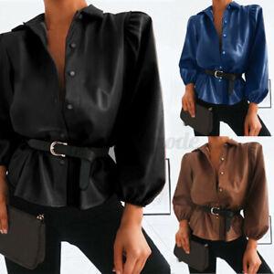 UK Women Elastic Cuff Faux Leather Wet Look Top OL Work Shirt Puff Sleeve Blouse