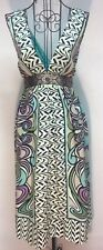 Nicole Miller Womens 10 Patterned Empire Waist Plunging Neckline Dress (#A2)