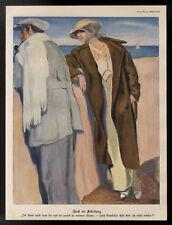 Seltener original Kunstdruck von 1914 Nach der Scheidung von Paul Rieth