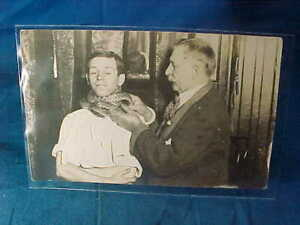 Early 20thc SNAKE HANDLER Advertising REAL PHOTO POSTCARD