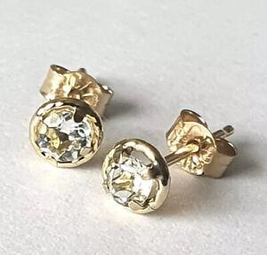 100% Genuine 9ct 9k 375 Yellow Gold NATURAL L Blue AQUAMARINE Stud Earrings 5mm