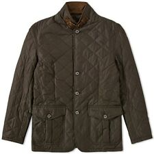 Barbour Men's Tailored Fit Quilted Lutz Dark Green Olive Jacket   2XL