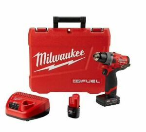 "Milwaukee 2503-22 M12 FUEL 1/2"" Drill Driver Kit W/ 4Ah + 2Ah Battery & Case NEW"