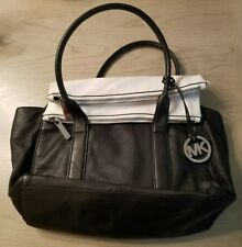 MICHAEL KORS Tippi Large Leather Satchel Bag Black / White Fold over top MK EUC