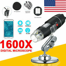Usb Digital Microscope Endoscope 1600x Zoom 3in 8led Magnifier Camerastand Tool