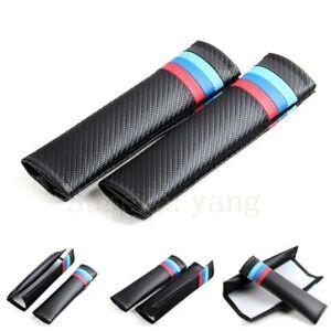 2Pcs M Color Power Black Carbon Fiber Car Seat Belt Cushions Shoulder Pads