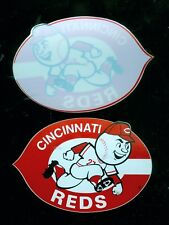 "2 diff. 1970's/80's Cincinnati Reds 4 1/4"" baseball decals YOU GET BOTH!!"