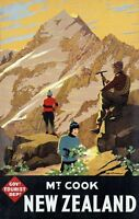 "Vintage Illustrated Travel Poster CANVAS PRINT New Zealand Mount Cook 24""X16"""