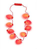 Light Up Heart Shaped Bulb Valentines Day Necklace LED Flashing Jumbo Charm