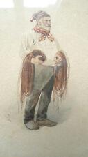 Tableau superbe aquarelle XIXe Pêcheur avec ses filets Julien Dupré?