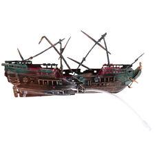 Aquarium Ornament Ship Air Split Shipwreck Fish Tank Decor Sunk Wreck Boat#2