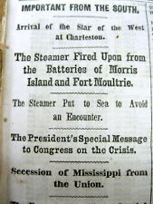 <1861 CIVIL WAR newspaper MISSISSIPPI SECEDES fr UNION Joins Confederacy SLAVERY