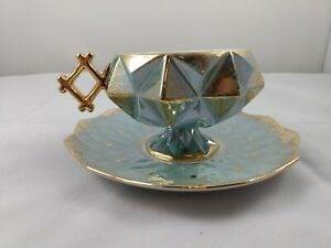 LM VF Royal Halsey Green Iridescent Gold Brushed Footed Cubist Tea Cup Saucer