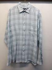 Ermenegildo Zegna Sport Men's L Blue/ Gray Plaid Reg. Fit Linen Dress Shirt