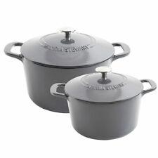 Martha Stewart 4-Quart and 7-Quart Enamel on Cast Iron Dutch Ovens, 2 Pack-Gray