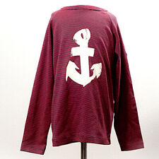 "NWT Petite Bateau - Striped Red/Blue ""Anchor"" Long Sleeve Shirt - Size 8"