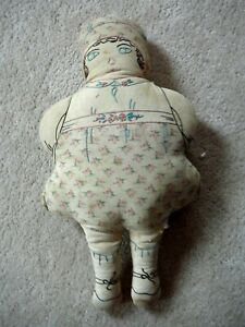 """ANTIQUE 15"""" HOME MADE RAG DOLL EMBROIDERY FACE & CLOTHES - ROSES PRINT APRON CAP"""