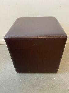 Beautiful Dark Brown Leather Cube Pouf Pouffe Seat Footstool
