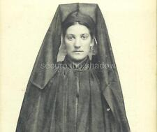 RPPC: Handsome Young WOMAN in FULL MOURNING DRESS w LONG VEIL Parthenay, FRANCE