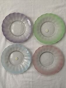 4 Princess House Crystal Cottage Plates Pink Green Lilac Blue Frosted Scalloped