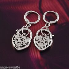 18K White Gold Filled Filigree Heart Drop Earrings (E-S157)