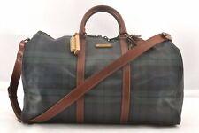 Authentic POLO Ralph Lauren Vintage Green Check Leather Travel Boston Bag 98192