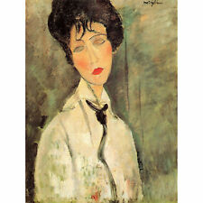 Amedeo Modigliani Portrait Woman With A Black Tie Old Art Painting Canvas Print