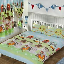 'SUNSHINE FARM' DOUBLE DUVET COVER & PILLOWCASES SET KIDS BOYS BEDDING
