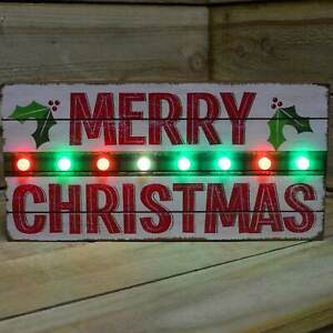 Merry Christmas Rustic Wooden Sign with Red & Green Flashing LED Lights