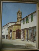 Gino Bruno 1889 Italy? Mediterranean Church and Old Town Oil Painting Signed