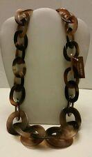 Gorgeous designer natural Buffalo Horn long link necklace