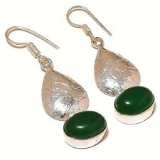 Cabochon Grass Green Onyx Gemstone silver plated Handmade Dangle Drop Earrings