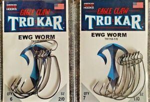 Eagle Claw TROKAR  Hook EWG Worm TK110 Lazer Choose 1/0 - 5/0  FEDEX 2 Day Read