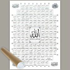 99 Name of Allah Islamic Poster Hanging English Meaning Eid Gift A3 Rolled