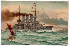 Postcard Naval Military Battleship The Exchange of Signals~105940