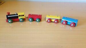 Brio Lilliput Train 1960s Wooden  Locomotive + 3 Train Cars Decent Shape