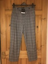 BNWT TOPSHOP WOMENS BLACK / WHITE CHECK SMART CROPPED TROUSERS SIZE UK 8