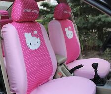 NEW 2017 6Pcs Hot Pink Hello Kitty Car Seat Cover Front Interior Accessories Car
