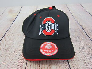 Ohio State Adult Buckeyes Stretch Fit Cap S-M Black  NWT