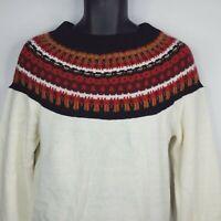 Vintage 70s Sears Sportwear Mens Red White Fair Isle Waffle Knit Sweater Size M