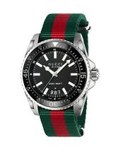 New Gucci Dive XL Sport Black Dial Nylon Strap Mens Watch YA136206